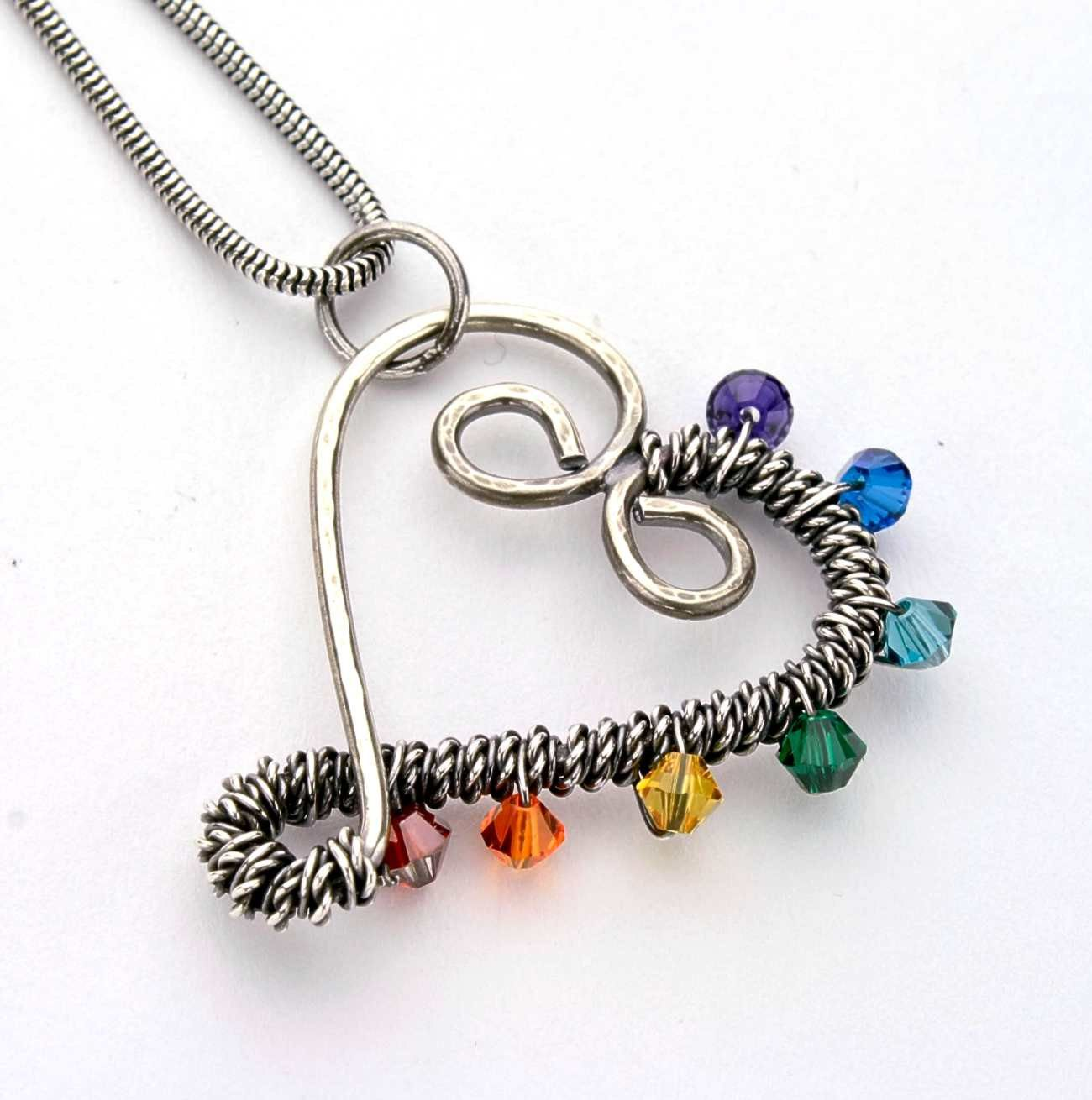 Wire wrapped Pendant - chakra heart - argentium and sterling silver ...
