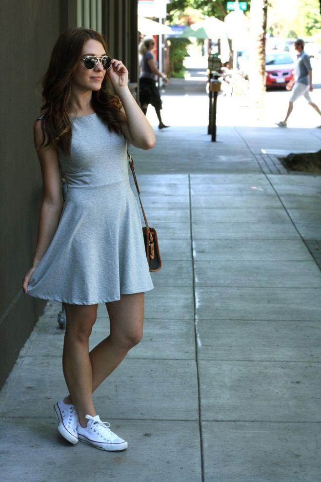 0ec281ff7da7 gray dress and white converse