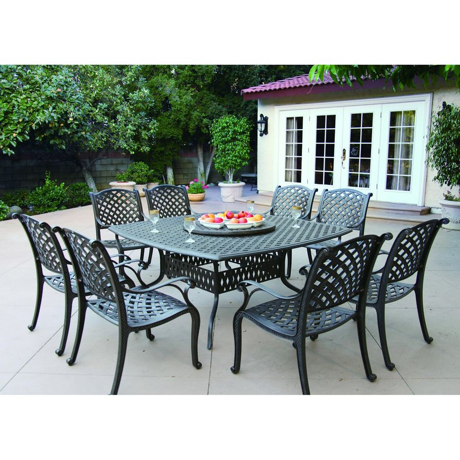 Darlee Nassau 10 Piece Antique Bronze Aluminum Patio Dining Set Patio Dining Set Aluminum Patio Furniture Cast Aluminum Patio Furniture