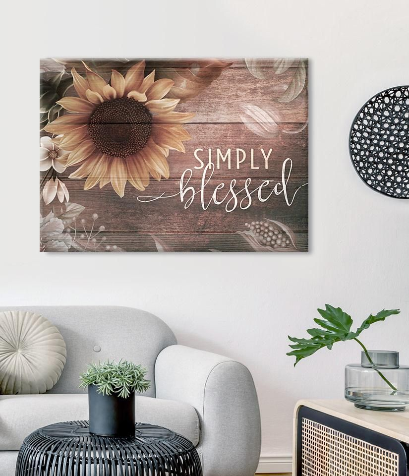 Christian Wall Art Simply Blessed V7 Wood Frame Ready To Hang Home Wall Art Christian Wall Art Bedroom Wall Art