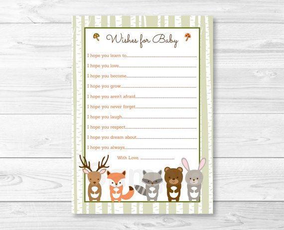 Woodland Forest Animal Birch Tree Wishes for Baby Advice Cards ...