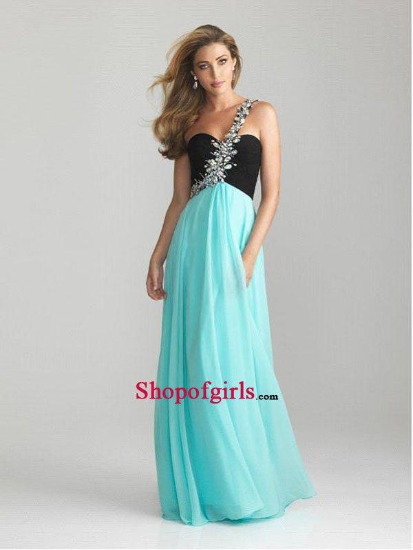 Modern Amazing One Shoulder Strap Beaded Princess Long Chiffon Prom Dress PD-50444