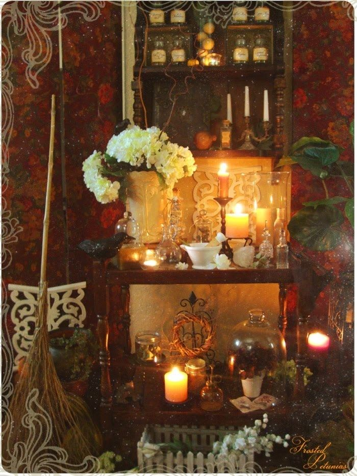 Witch's Cottage flowers candles magic witch broom spells potions #witchcottage