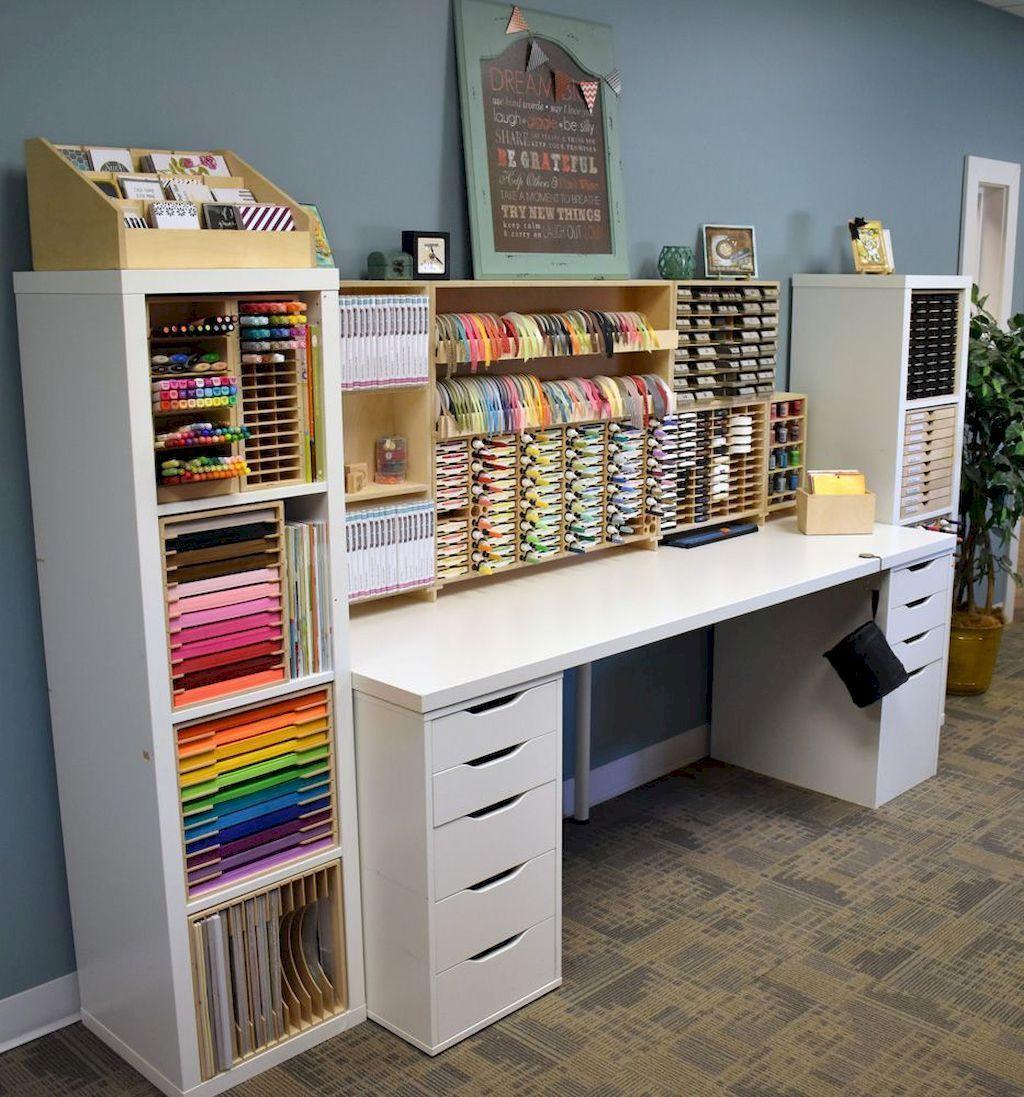 WAYS TO MAKE AN ART STUDIO Organization AT Ideas for Workspace Desks (38 images