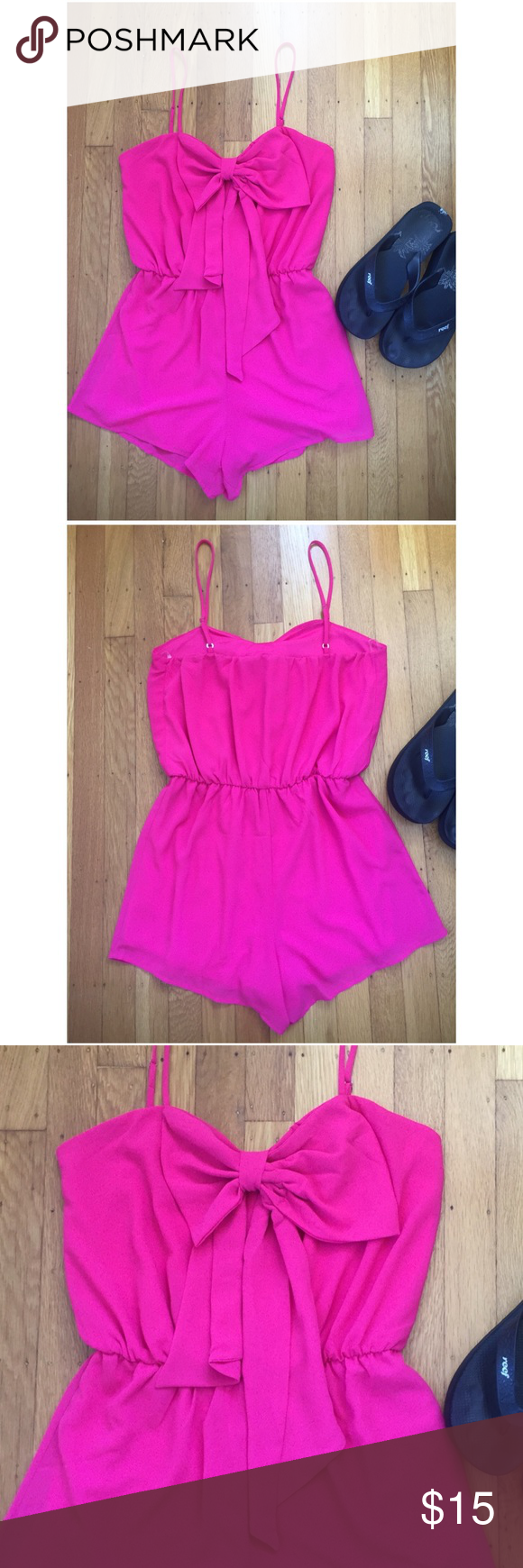 """Chocolate Brand Hot Pink Roomer.  Summer Perfect. Chocolate Brand Hot Pink Roomer.  Summer Perfect. NWT.  Bust 37"""". Waist 27"""".  Elastic waist band stretches to 32"""".  Hips 39"""".  Totally lined.  New romper in perfect condition.  So gorgeous and perfect for summer. FIRM PRICE. Chocolate Shorts"""