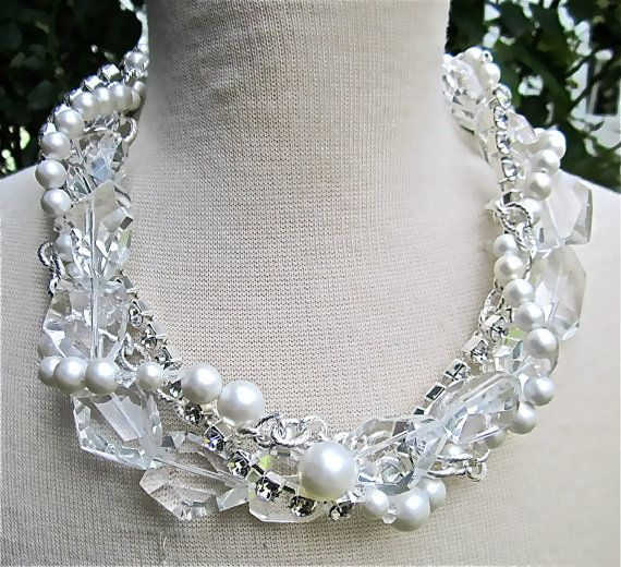 Chunky Crystal Necklace Pearl & Rhinestone by AllThingsTinsel