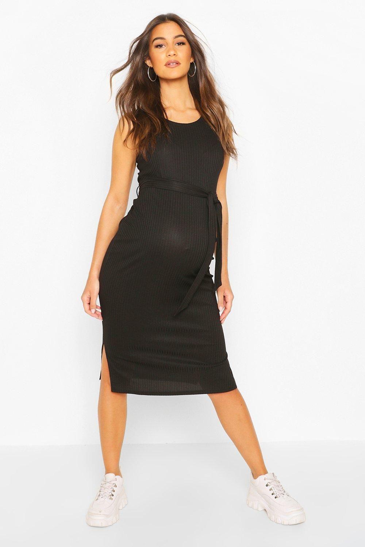 Womens Maternity Ribbed Tie Midi Dress - black - 8 - Maternity Ribbed Tie Midi Dress
