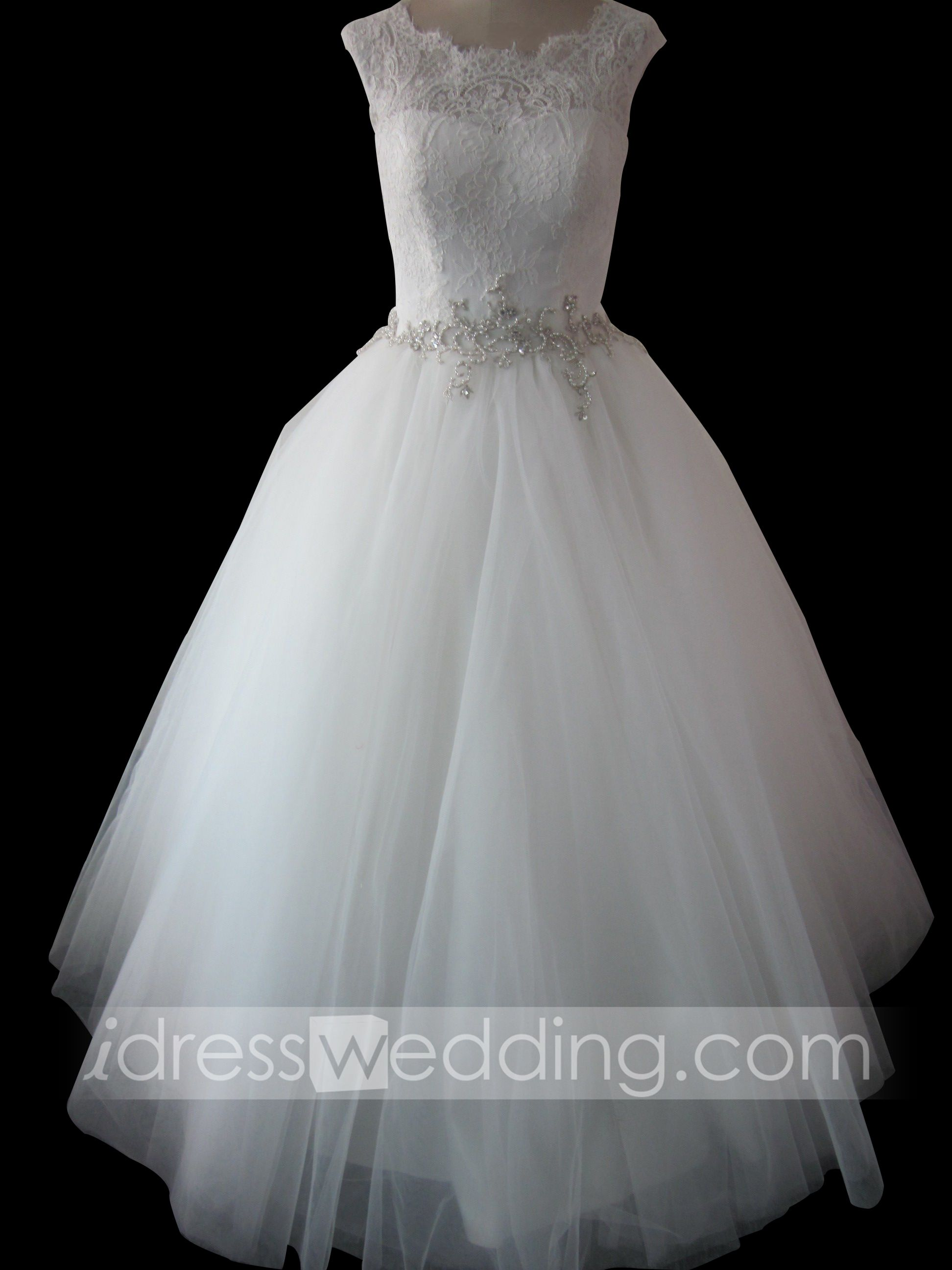 Sweetheart tea length wedding dresses with red detailing and cap