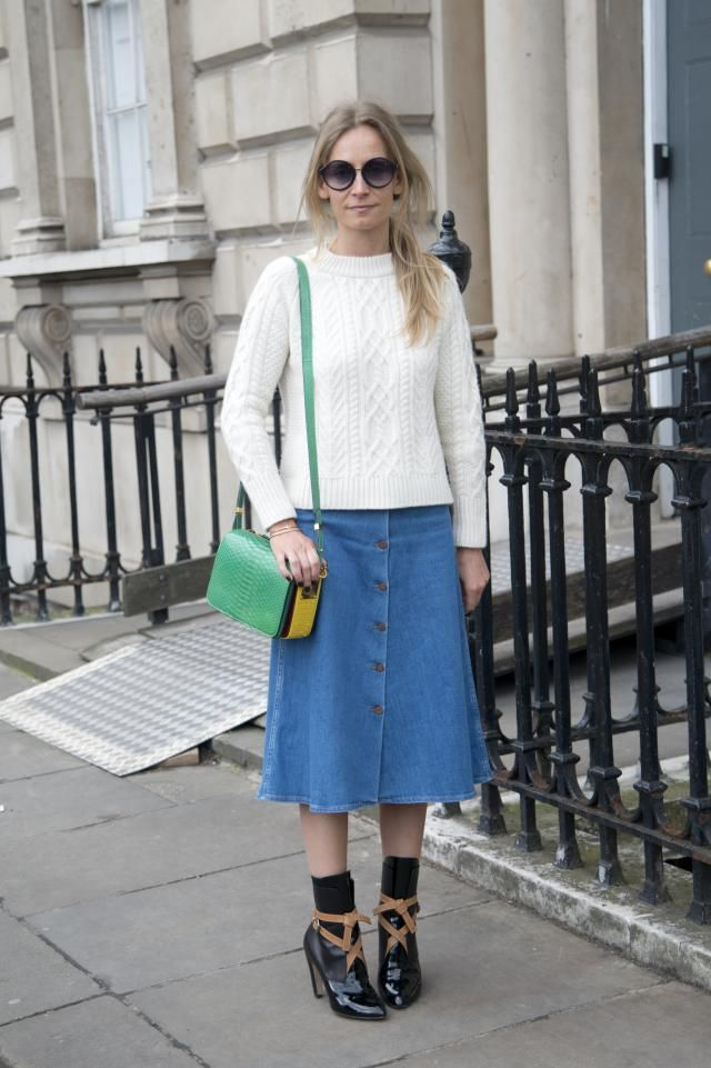How to Wear a Denim Skirt - Midi Length Denim Skirt, White Cable ...