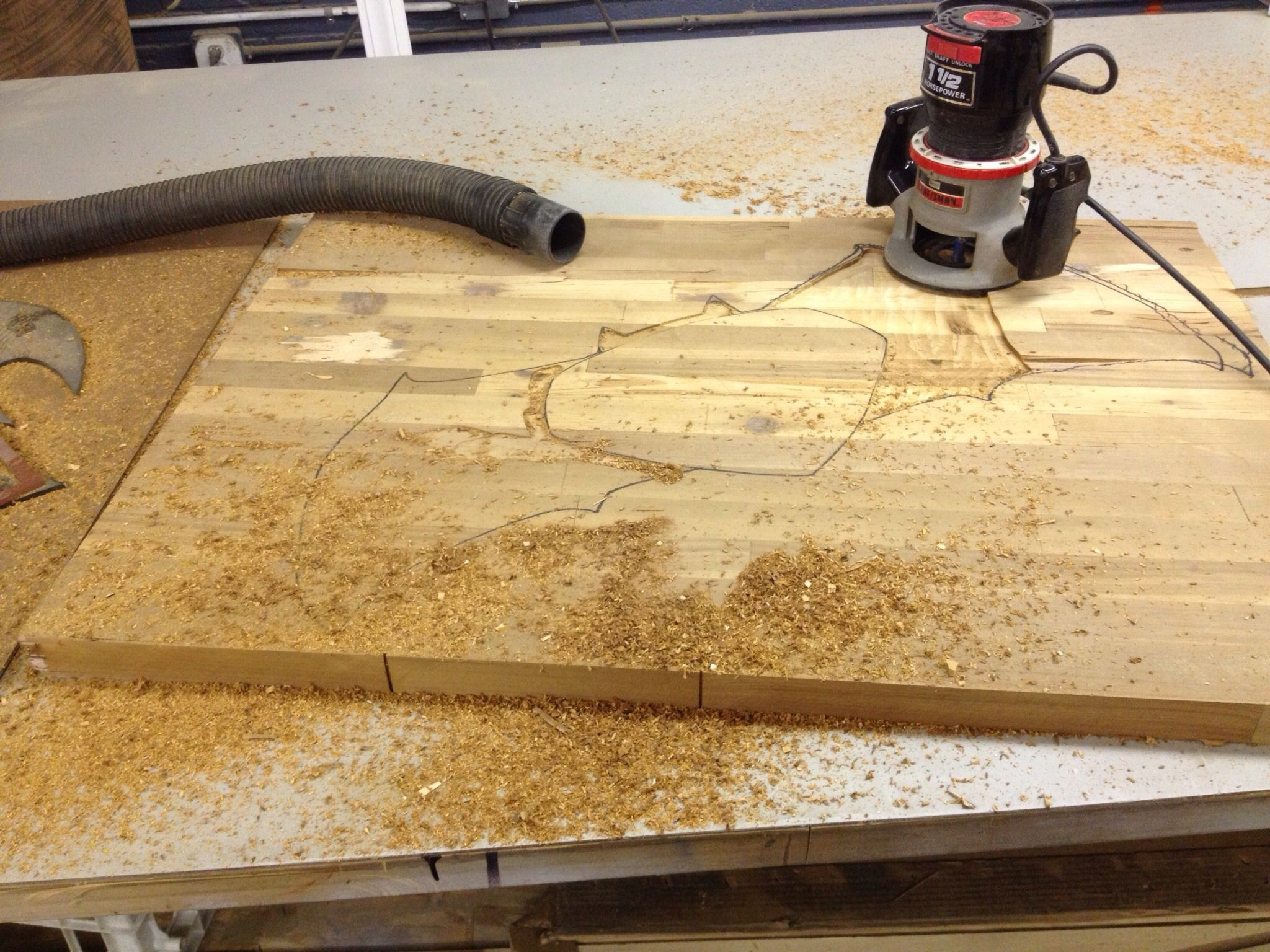 """Almost done. Once done, then onto routing detail for raised """"s"""". Then stain"""