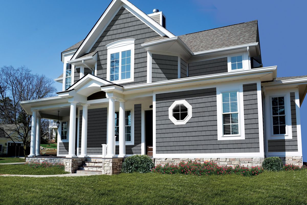 Featuring Grayne Engineered Cedar Shingles In 7 5 Aged Grey This Home Is Sure To Stand Out On Any Block Cottage Exterior Shingle Siding House Styles