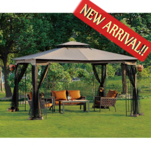 10 X 12 Gazebo Canopy With Mosquito Netting Outdoor Gazebos Canopy Outdoor Backyard Gazebo