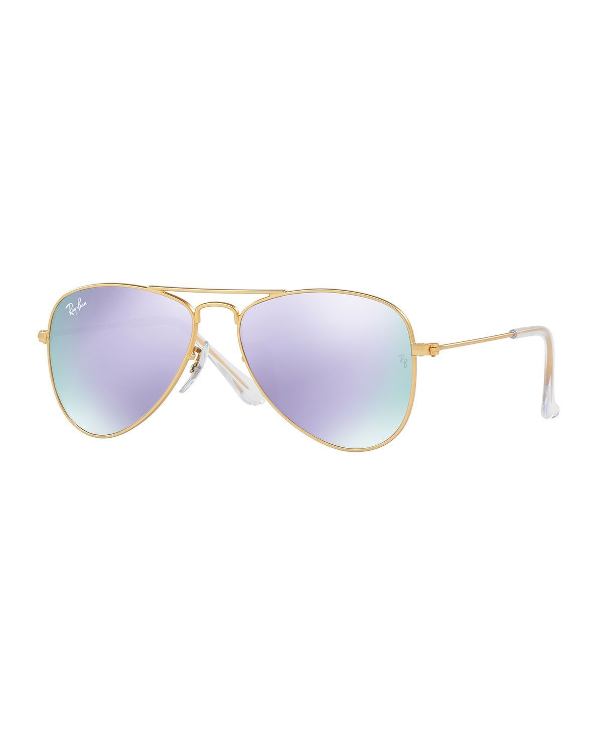 Iridescent Aviator Sunglasses, Gold/Lilac, Gold/Liliac - Ray-Ban Junior