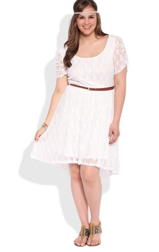 Plus Size Lace High Low Dress with Ruched Sleeves and Belted Waist