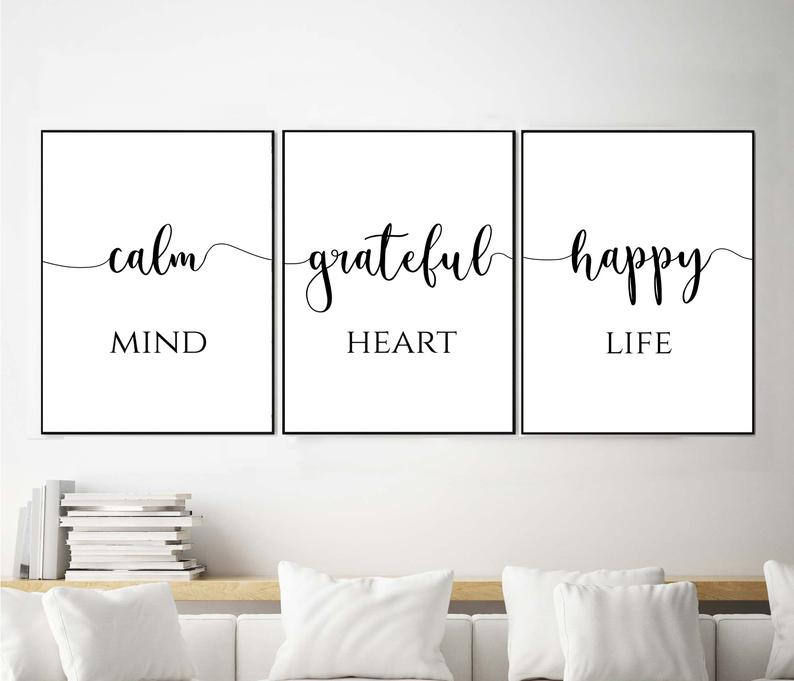 Happy Mind Print Inspirational Quotes Wall Art Set 3 Etsy Inspirational Quotes Wall Art Printable Wall Art Bedroom Bedroom Wall Art