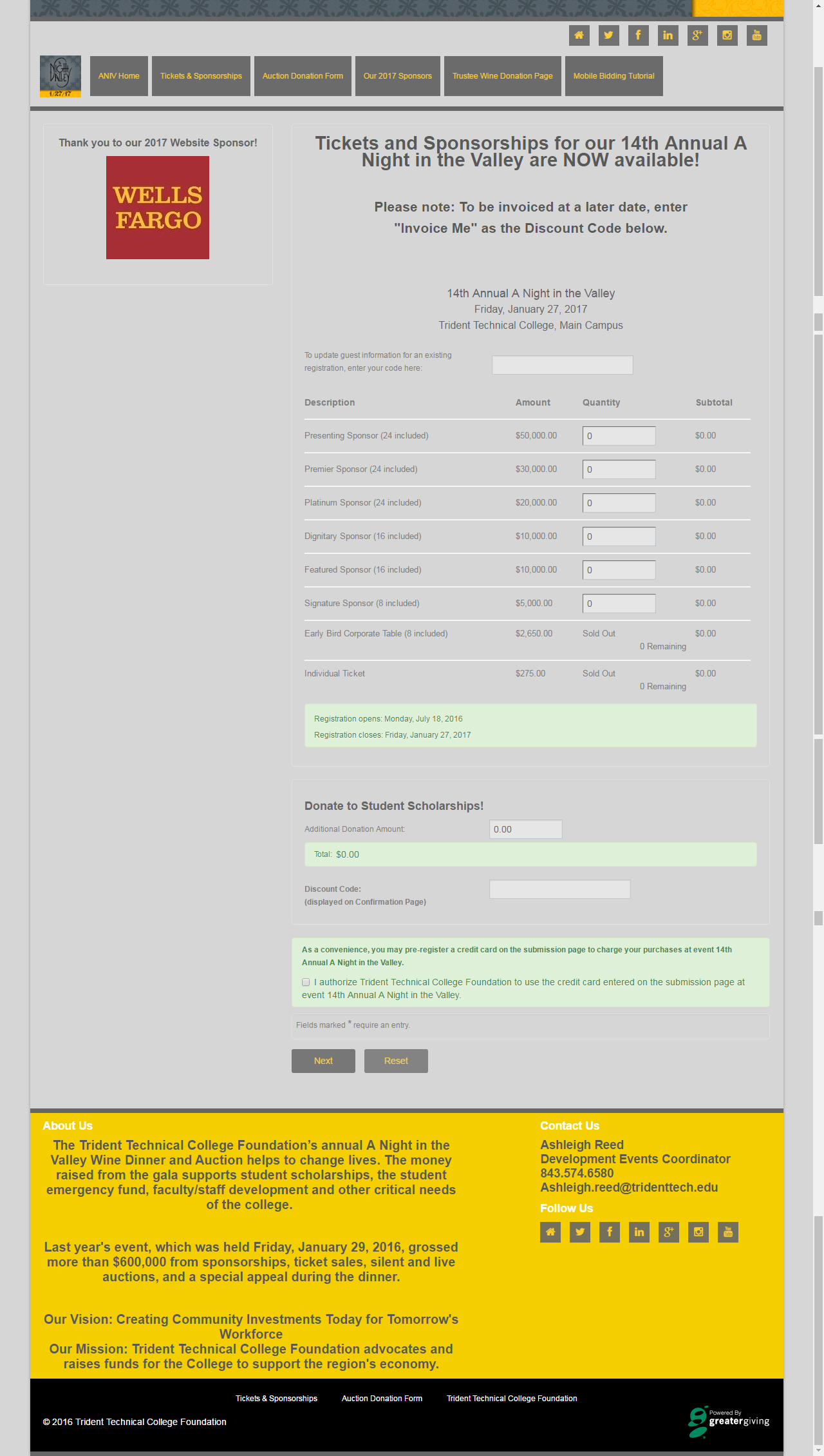 sample ticket page built out of Greater Giving event software - note ...
