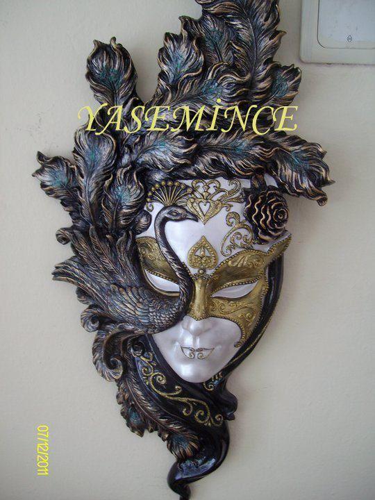 Mask 1yasemince Ahşap Kumaş Seramik Boyama Yasemince Dekopaj
