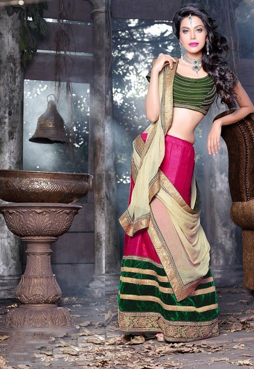 Designer Pink And Green Color Bhagalpuri And Dupion Wedding Wear A-line Leenga Choli