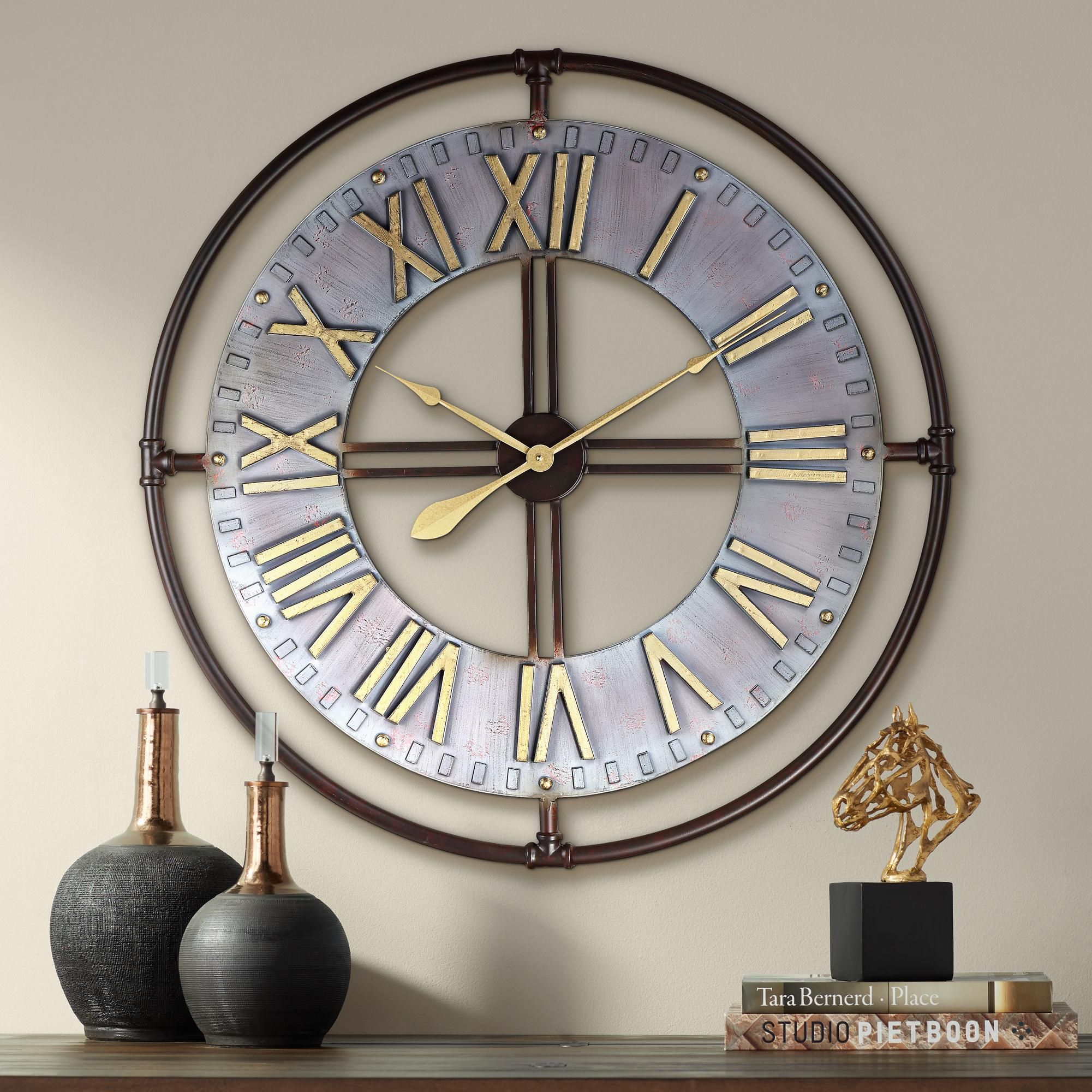 Clocks Industry 33 Wide Steel And Gold Open Face Wall Clock Metal Wall Clock Wall Clock Silver Wall Clock