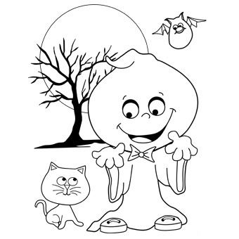 Silly ghost colouring in page FreeNFun Halloween from