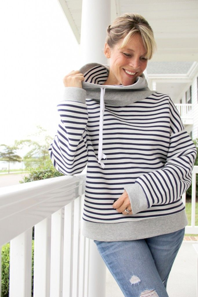39f66e4d7 How to sew a Cowl Neck Hoodie Sweatshirt, with free women's sweatshirt  pattern