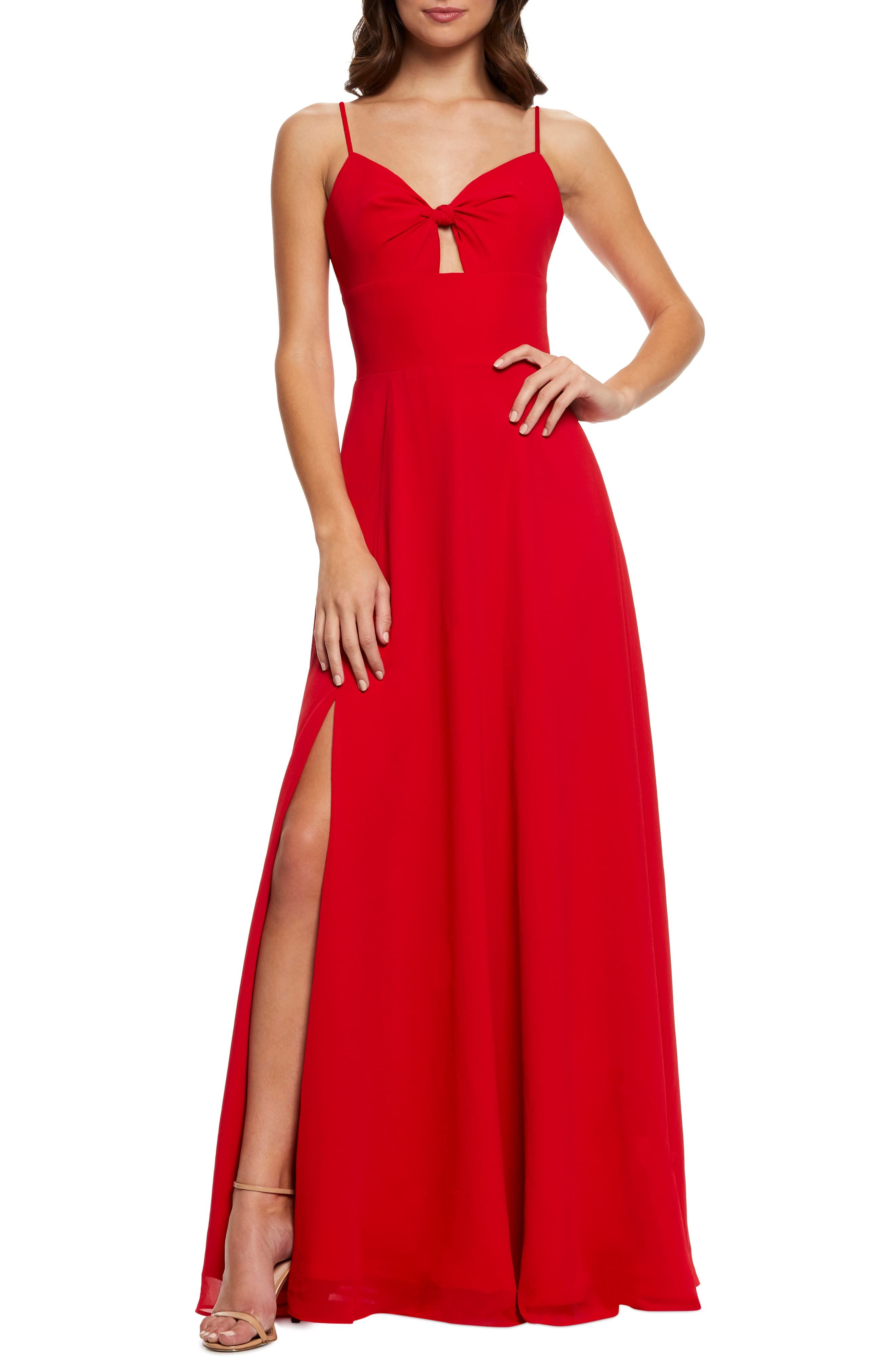 Dress The Population Cambria Tie Bodice Evening Dress Nordstrom Dress The Population Dresses Long Red Dress [ 4048 x 2640 Pixel ]