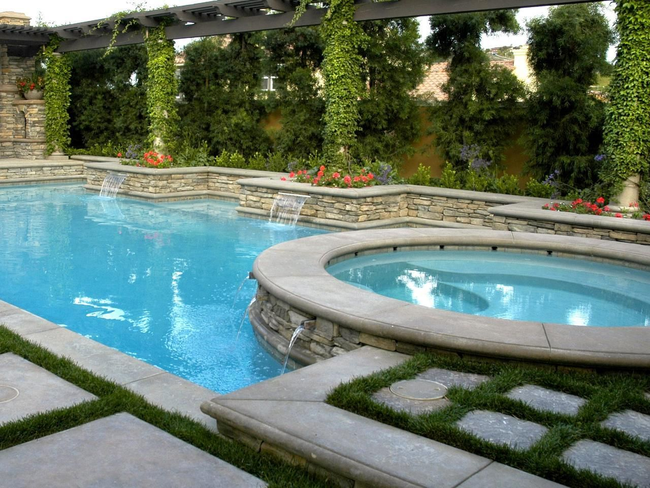 Pool Spa Design Ideas Inground Pool Landscaping Ideas Bistrodre Porch And Backyard Pool Backyard Pool And Spa Pool Landscaping
