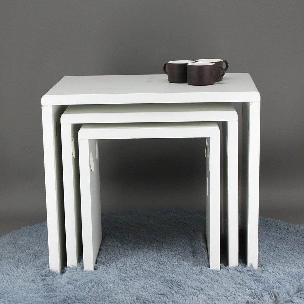 Joolihome Nest Of Table 3 Gloss White Coffee Table Nesting Tables Wood Side Table Set Of 3 Living Room Furniture Amazon Co Uk Kitchen Home Wohnung