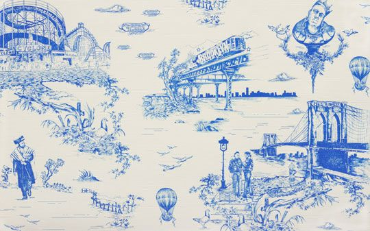 Toile Goes Street Brooklyn Toile Wallpaper By Beastie Boy Mike D Toile Wallpaper Flavor Paper Wallpaper Toile