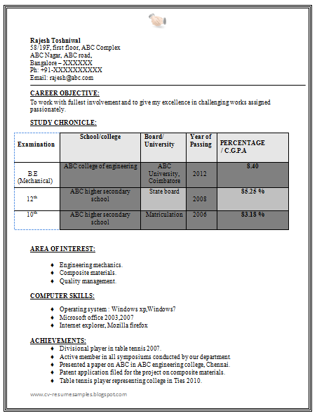 Resume Format For Mechanical Engineers Download  Resume Format