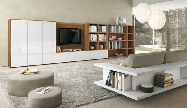 12-biblioteca moderna mare cu sifonier pentru living Idei Pinterest - bibliotecas modernas en casa