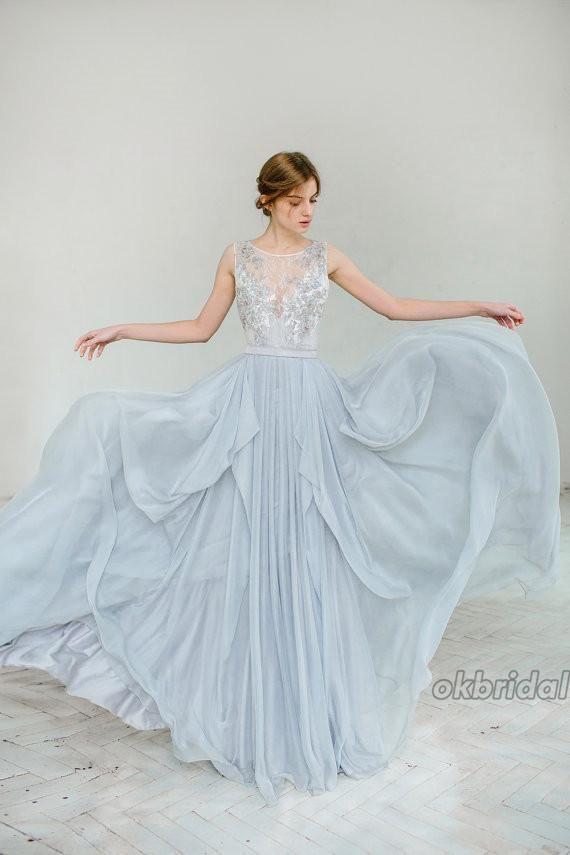 Chiffon Wedding Dress, Applique Sleeveless Bridal Dress, Tulle V ...