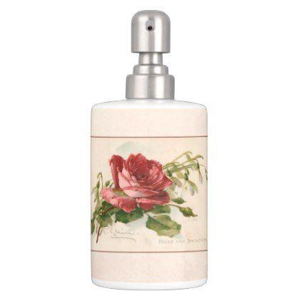 #Elegant Vintage Red Rose Bathroom Set   #Bathroom #Accessories #home  #living