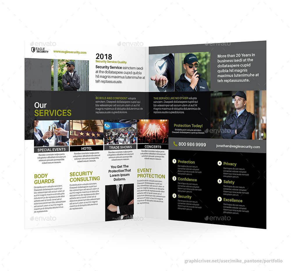 Security guard service bifold halffold brochure