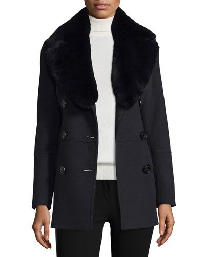 2ac79728a0 BURBERRY Marfield Wool-Blend Coat W/Detachable Fur Collar, Black. #burberry  #cloth #. Burberry Clothing & Burberry Clothes at Bergdorf Goodman ...
