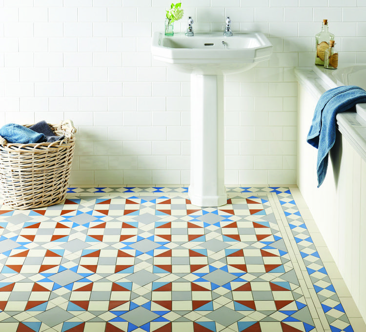 The Eltham Pattern With Pugin Blue Are Both New Additions To The Range In 2020 Best Bathroom Flooring Tile Bathroom Tile Floor