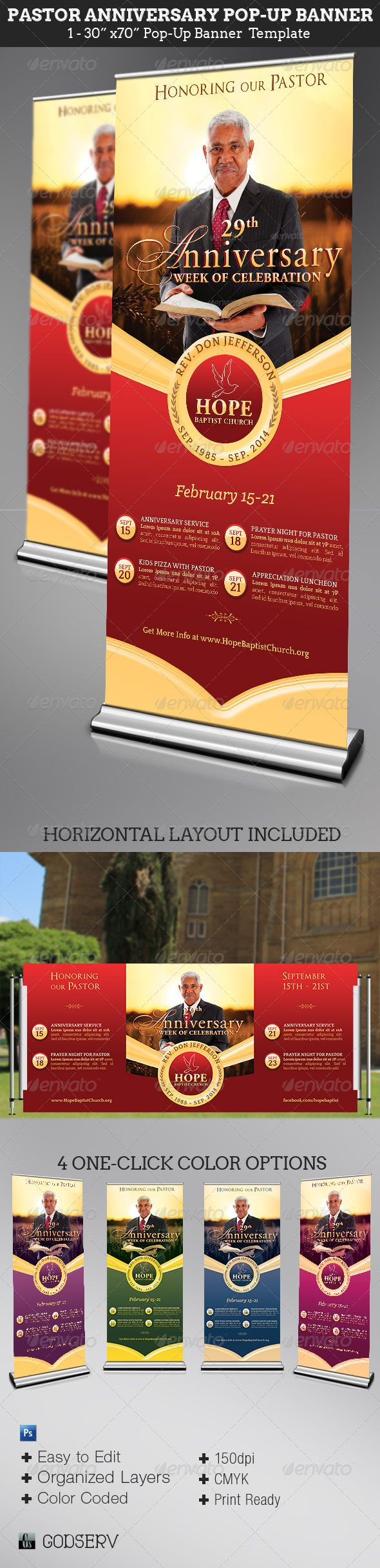 pastor anniversary pop up banner template cfym pinterest