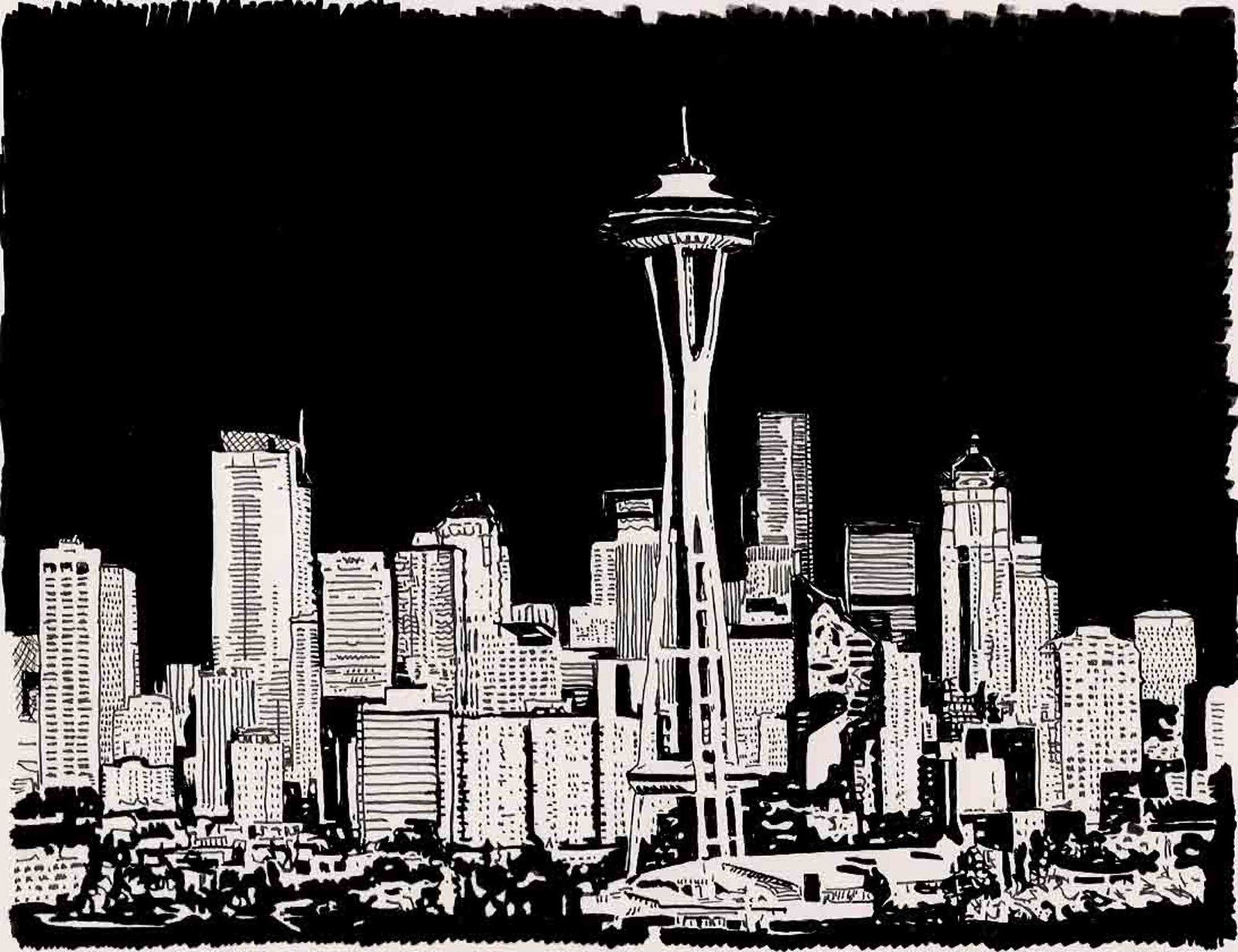 Seattle Stencil Google Search Seattle Skyline Drawing Skyline