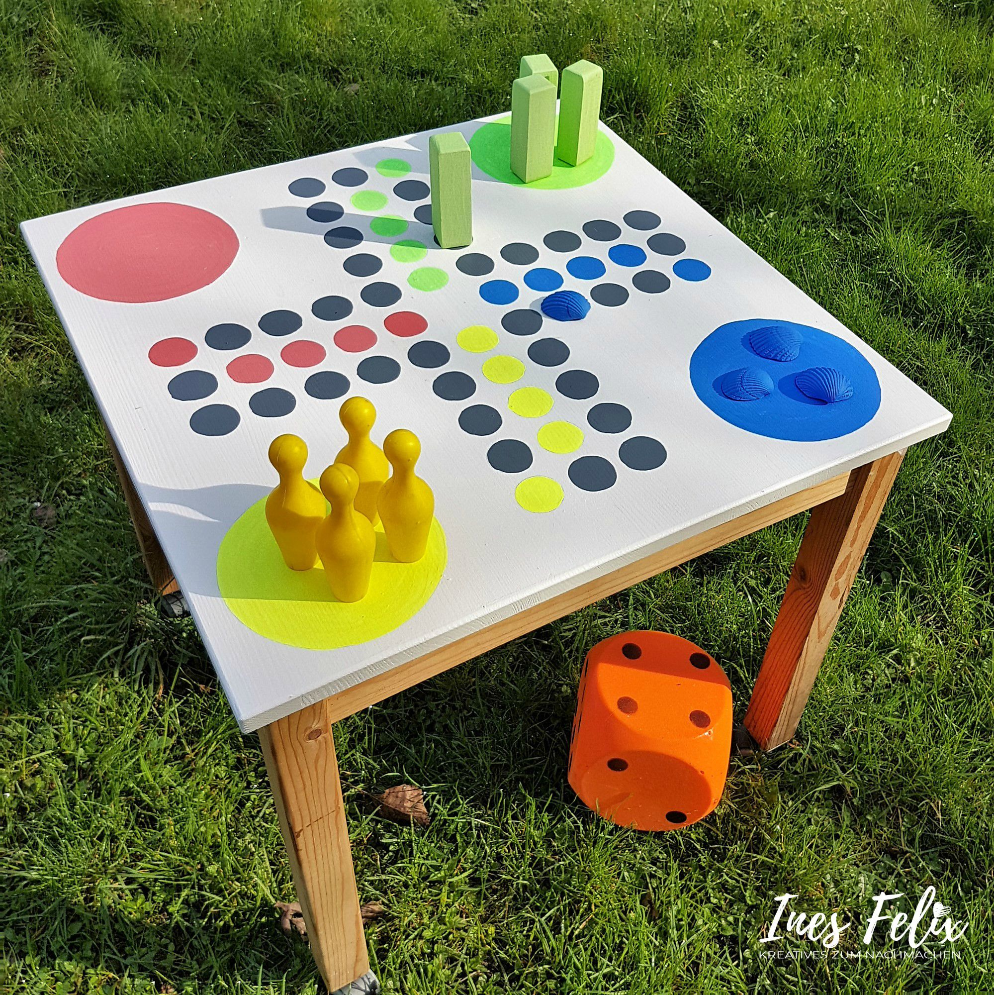 Mensch Ärgere Dich Nicht Gartentisch Spieltisch Für Den Garten Selbst Gemacht Spieltisch Gartentisch Kinder Gartentisch