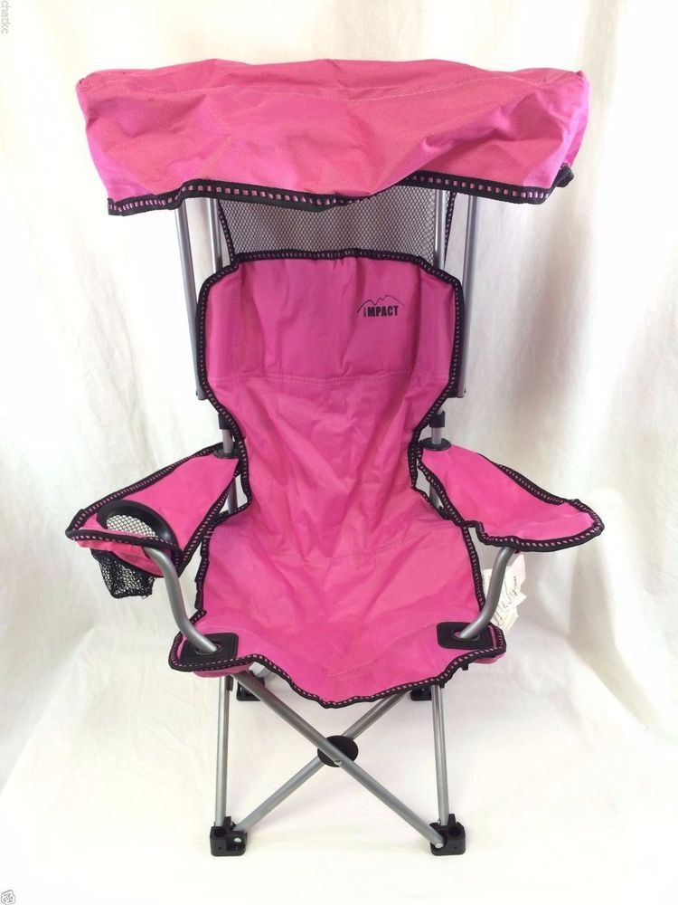 Pink Kids Canopy Lawn Chair By Impact Safety Lock Adjustable Arms Cup Holder #Impact # & Pink Kids Canopy Lawn Chair By Impact Safety Lock Adjustable Arms ...