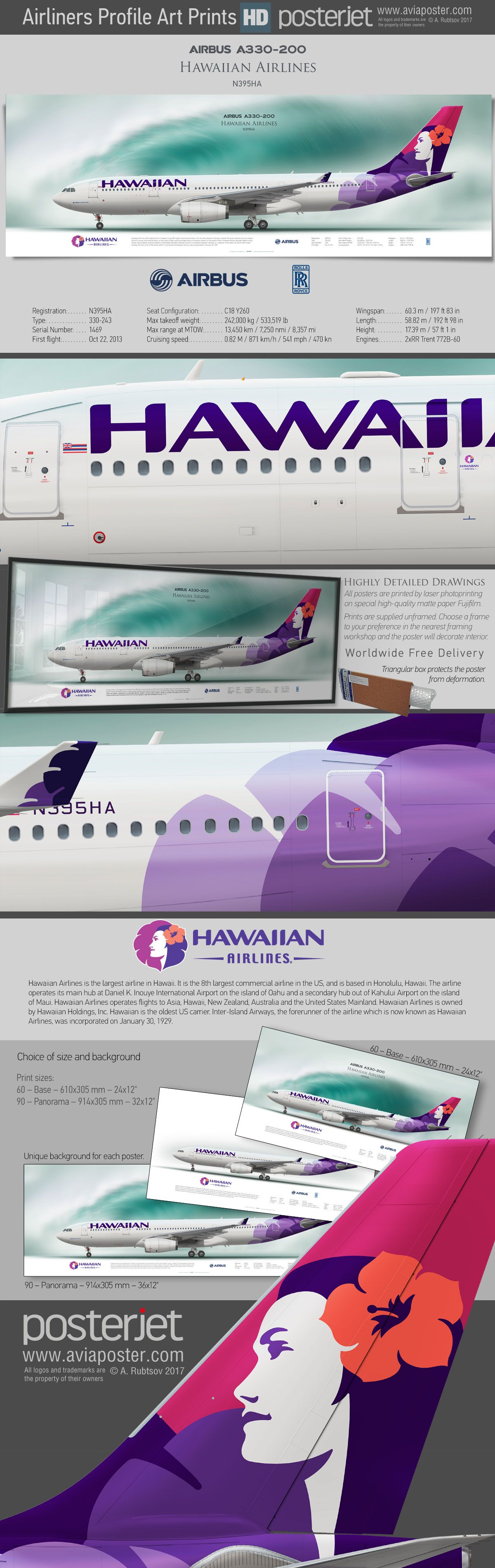 Airbus A330200 Hawaiian Airlines N395HA www.aviaposter
