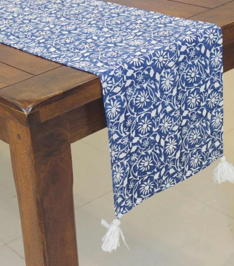 Table Runner Hand Block Printed Cotton Hand Block Printed Block Print Beautiful Linens