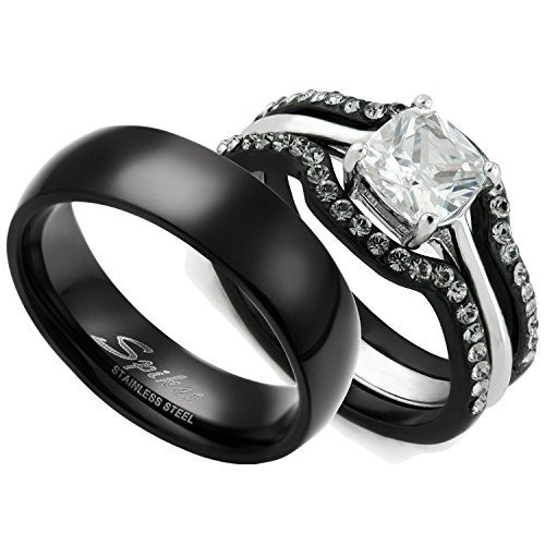 Amazon Com His Hers Women S Black Ip Stainless Steel Wedding Ring Set Mens Matching Ban Black Wedding Rings White Topaz Engagement Ring Steel Wedding Ring