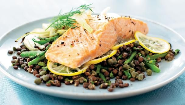 Salmon And Puy Lentils With Parsley Recipe Recipe Lentil Recipes Salmon Recipes Recipes