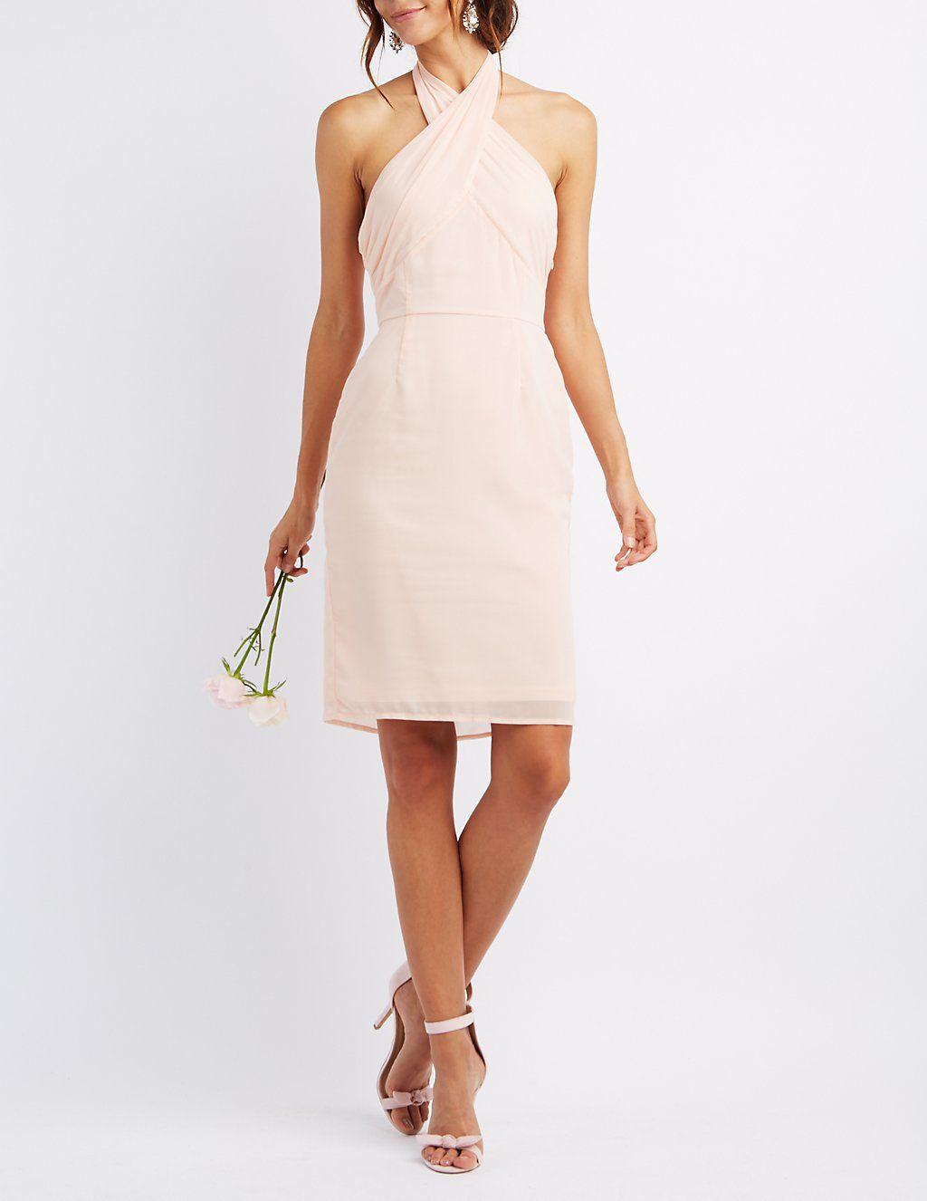 Chiffon Cross Front Halter Dress #CharlotteLook | Chocolate Trifle ...