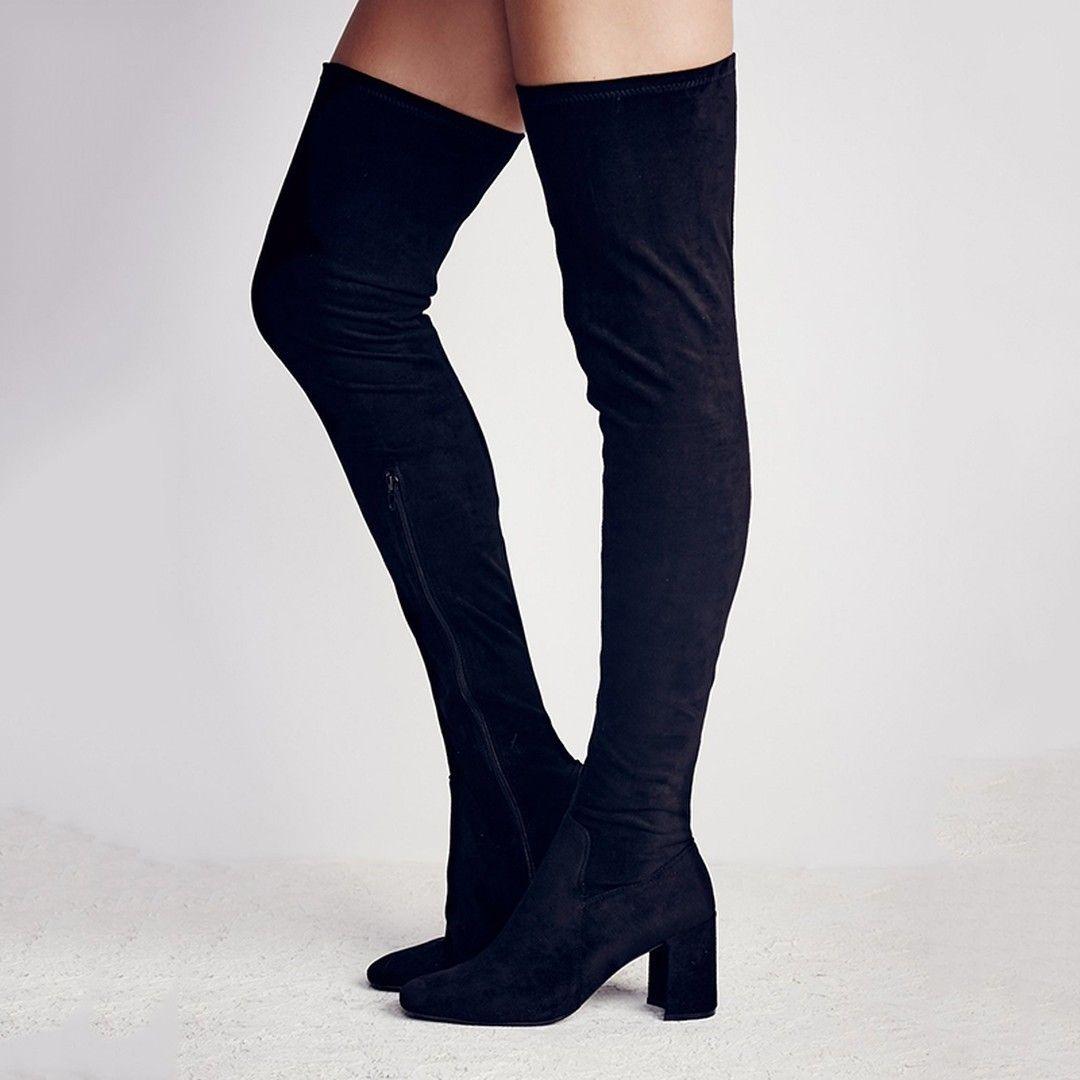 0c9c8e81d15e Shoespie Slim Block Heel Thigh High Boots