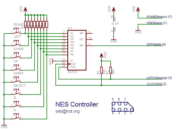 NES Controller Schematic | NES RaspberryPi | Raspberry, Arcade on