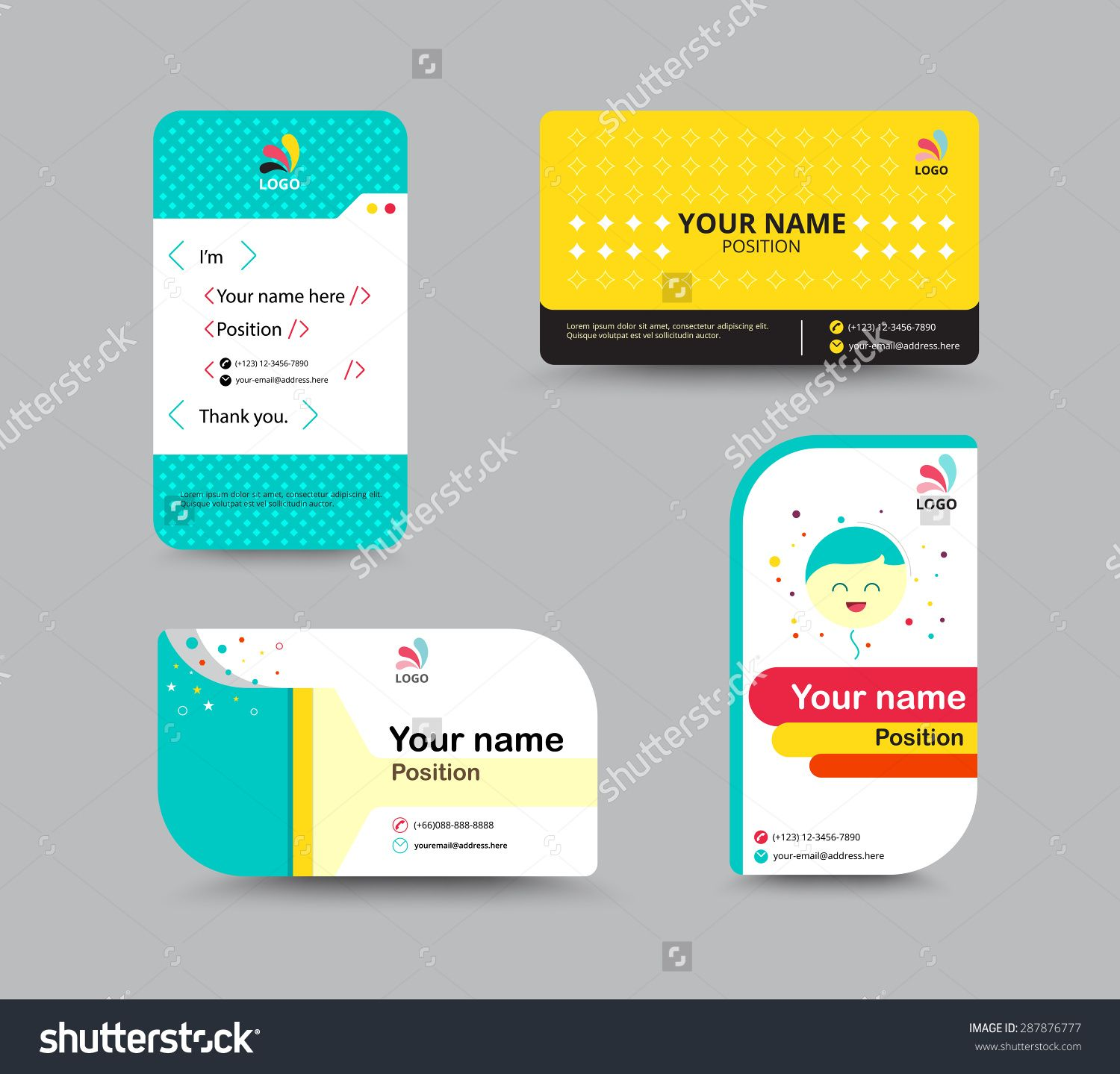Name card google card pinterest contact card template business name card stock vector 287876777 shutterstock fbccfo