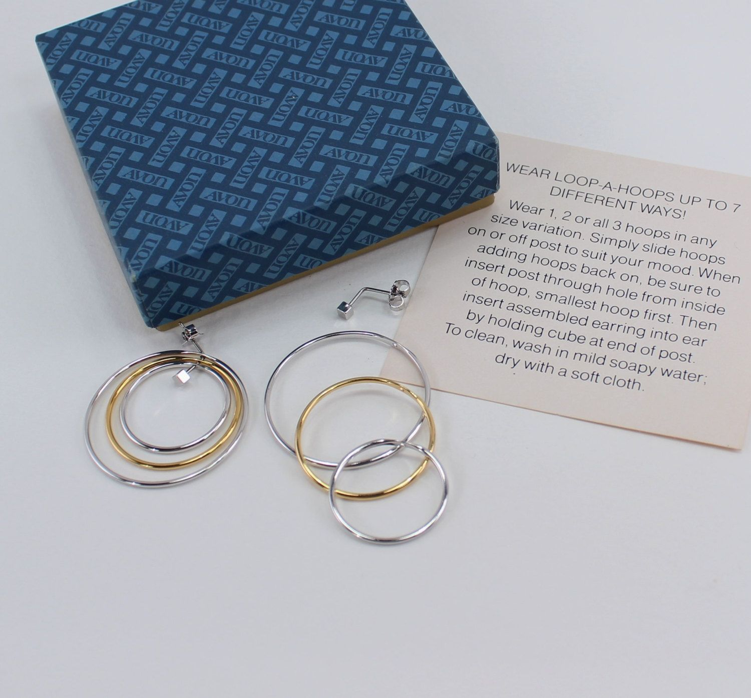 f2424acb86bf2 Vintage 1979 Signed Avon Loop A Hoop Mixed Metal Gold Silver Tone ...
