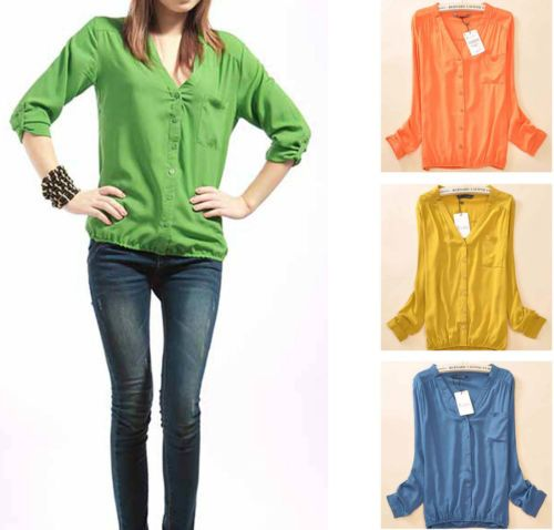 Candy Color Stretchy Narrow Edge V Neck Cotton Blouse Top T Shirt s M L TZV | eBay